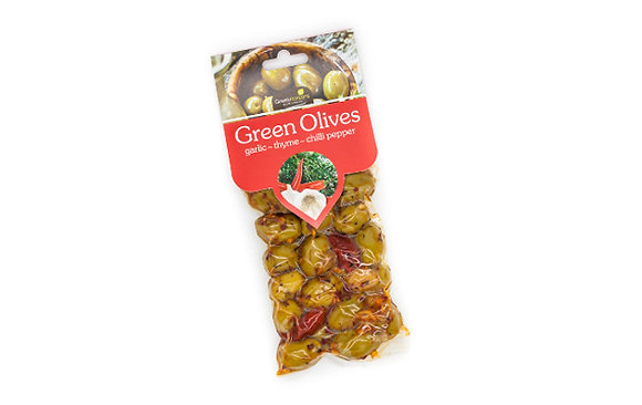 Green olives with garlic-thyme & chili pepper 100g