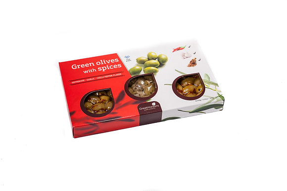 Green olives with spices gift box 3x100g