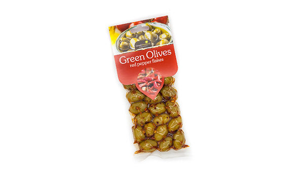Green olives with chili pepper flakes 100g
