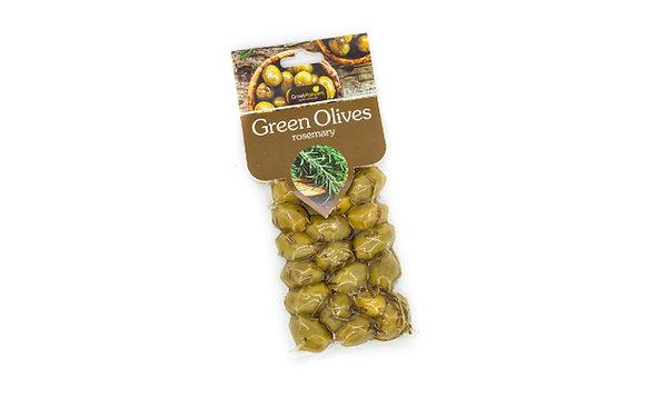 Ελιές πράσινες με δενδρολίβανο 100γρ