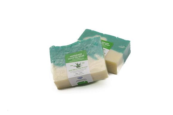 Handmade olive oil soap Aloe & green tea  100g