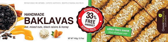 Baklava oat,mixed nuts, black raisins & honey 145g