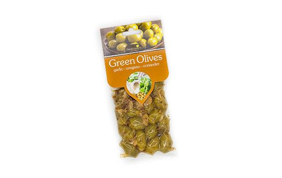 Ελιές πράσινες με σκόρδο-ρίγανη και κόλιανδρο 100γρ