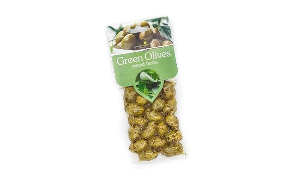Ελιές πράσινες με βότανα 100γρ