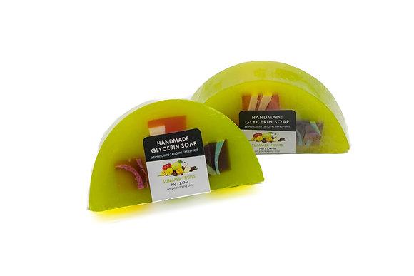 Χειροποίητο σαπούνι γλυκερίνης Καλοκαιρινά φρούτα 70γρ