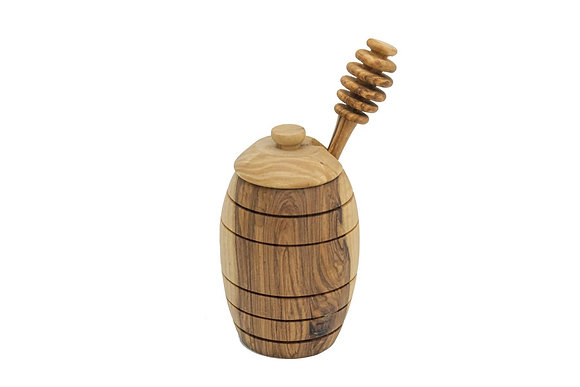 Olive wood honey pot with dipper (Size S)