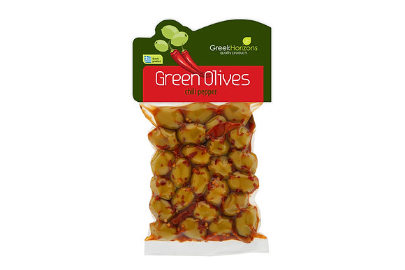 Green olives with chili pepper  200g