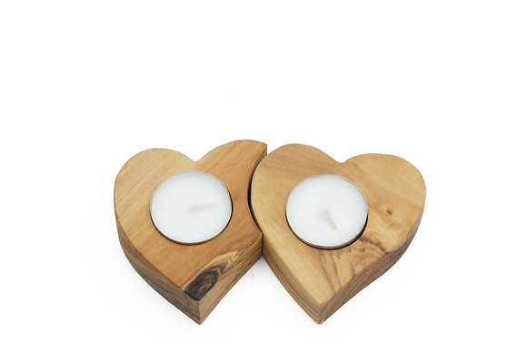 Olive wood candle heart set of 2