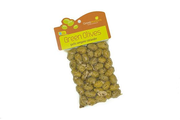 Πράσινες ελιές με σκόρδο-ρίγανη & κόλιανδρο 200γρ