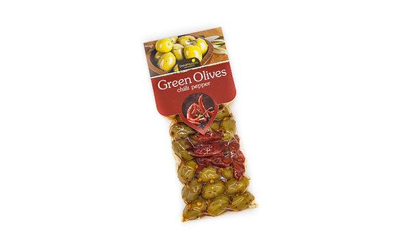 Ελιές πράσινες με πιπερίτσα 100γρ