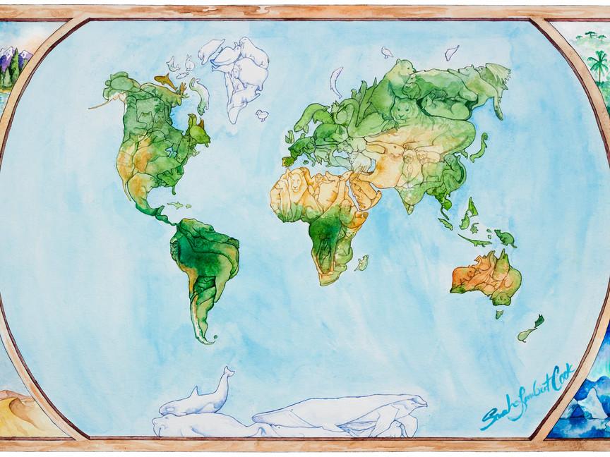 Roam the Globe: a world map in animals