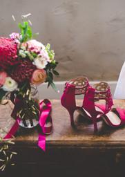 D-WE mariage cuivre chaussures et bouque