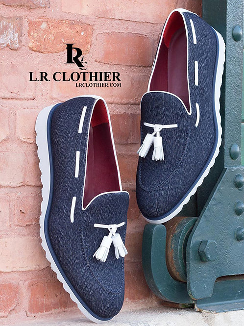 DENIM LOAFERS w/ WHITE ACCENT & SPORT WEDGE SOLE