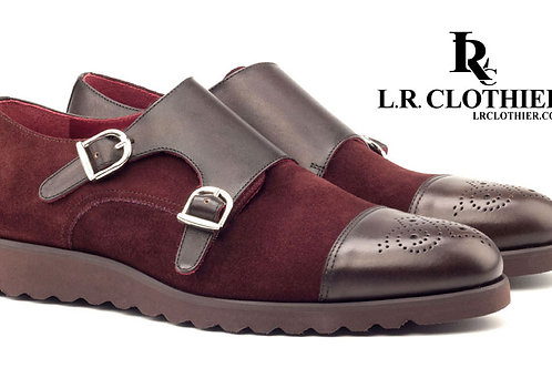BURGUNDY & BROWN SUEDE LEATHER DOUBLE MONK