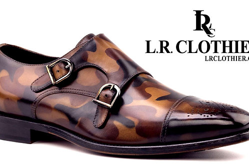 CAMO LEATHER DOUBLE MONK STRAP