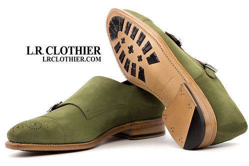OLIVE SUEDE DOUBLE MONK