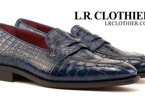 NAVY ALLIGATOR LOAFER