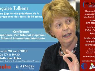 Conférence Tribunal international Monsanto - Françoise Tulkens - 23 avril 2018