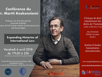 """Expanding Histories of International Law"", une conférence du Prof. Martti Koskenniemi, le"