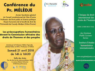 Conférence du Pr. Mélèdje - Préoccupations humanitaires devant la commission africaine des droits de