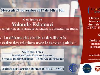 Conférence avec Yolande Eskenazi - Conseillère territoriale du Défenseur des droits - 29 novembre 20