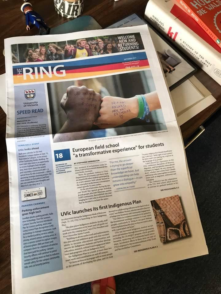 Lorraine Dumont et Habib Touré sur la couverture du Ring, journal de l'Université de Victoria, Canada