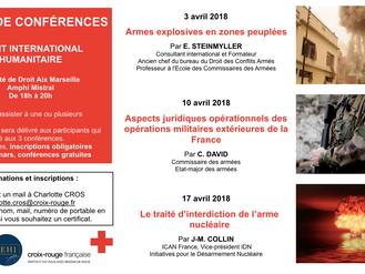 Cycle de conférences - Droit international humanitaire - 3, 10 et 17 avril