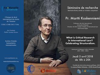 Le Prof. Martti Koskenniemi animera un séminaire de recherche le 5 avril prochain.