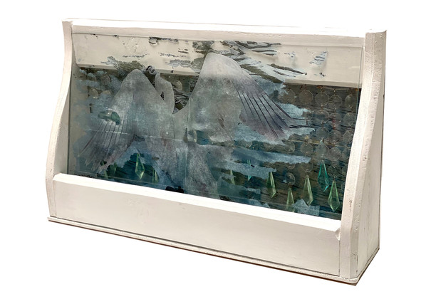 The Lightness (view from right), photo transfer, collage, acrylic, acrylic crystal beads, glass and assemble found wood cuts, 30x50x10 cm, 2021