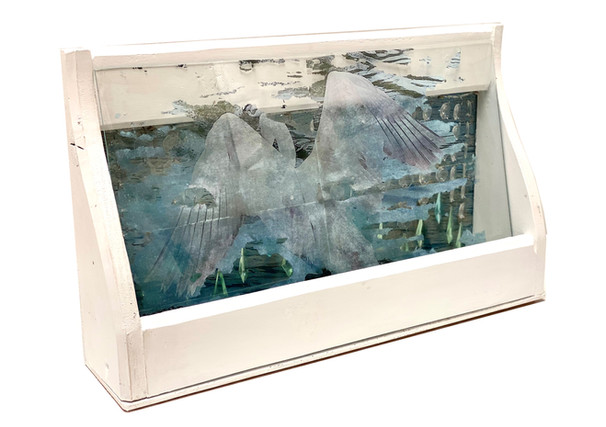 The Lightness (view from left), photo transfer, collage, acrylic, acrylic crystal beads, glass and assemble found wood cuts, 30x50x10 cm, 2021
