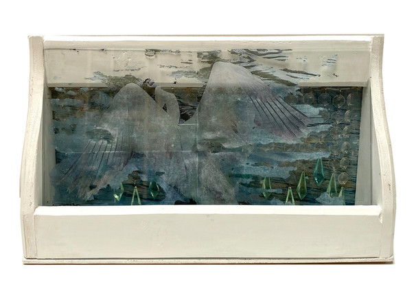 The Lightness, photo transfer, collage, acrylic, acrylic crystal beads, glass and assemble found wood cuts, 30x50x10 cm, 2021