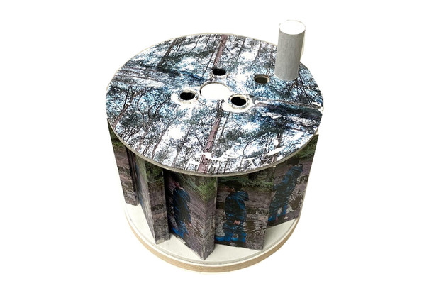 Infinite Rehearsal (top view), photo transfer, collage and acrylic paint on assembled wood blocks on wooden cable drum reel, 25x25x25 cm, 2020