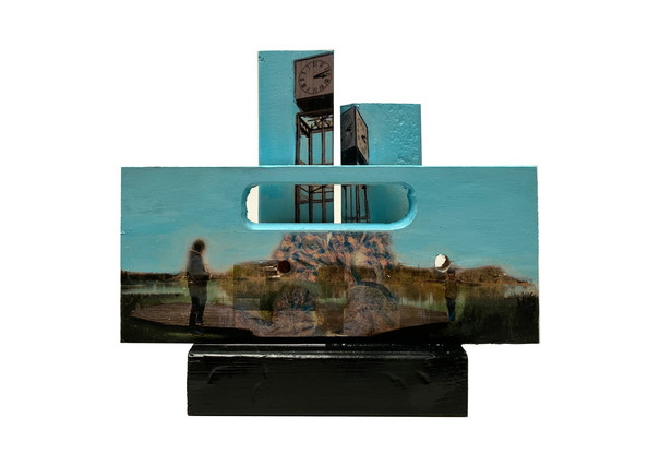 Apposing Times, collage, image transfer and acrylic on assembled wood blocks and shaped Playwood, 27x32x9 cm, 2021