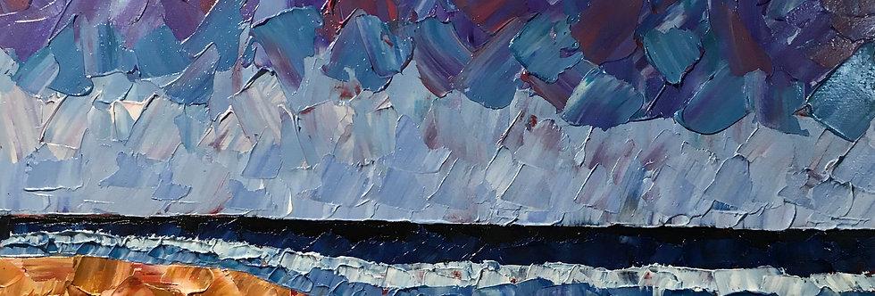 Crashing   12x6in   Framed Oil Painting