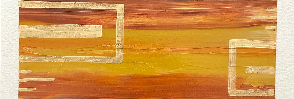 Goemetric Glint    3.5x7.5in   Unframed Oil Painting