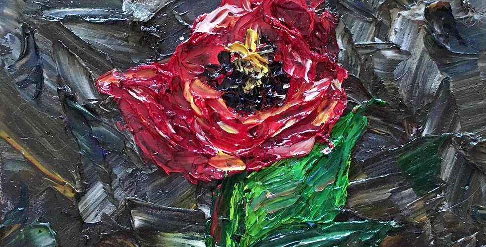"Red Flower, 6""x6"""