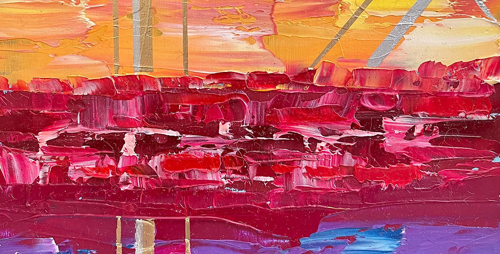 Gleam Tapestry   6x6in   Framed Oil Painting
