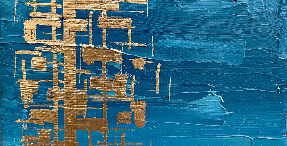 Blue Mini Gild | 4x4in | Unframed Oil Painting