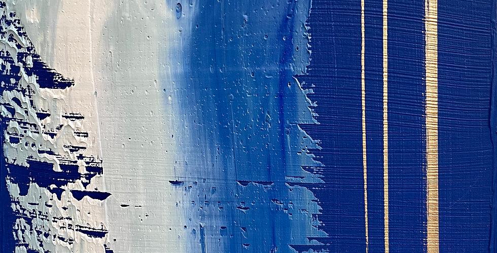 Blue Scrape Study 3   6x6in   Unframed Oil Painting