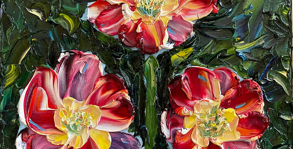 Red Tulips | 12x12in | Framed Oil Painting