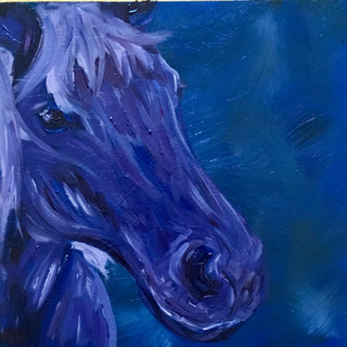 "Blue Horse, 6""x6"""