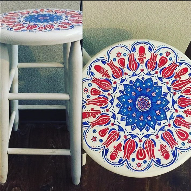 Turkish Tile Inspired Stool, 2013