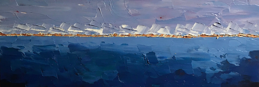 Shoreline Haze   12x6in   Framed Oil Painting