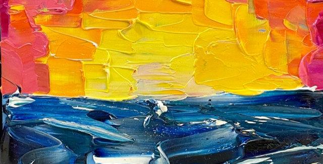 Sunset Horizon Study  | 6x6in | Framed Oil Painting