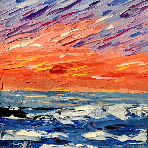 """Red Sunset, 6""""x6"""""""