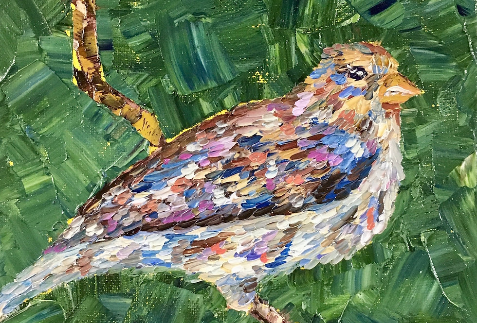Happy Bird | 10x8in | Framed Oil Painting