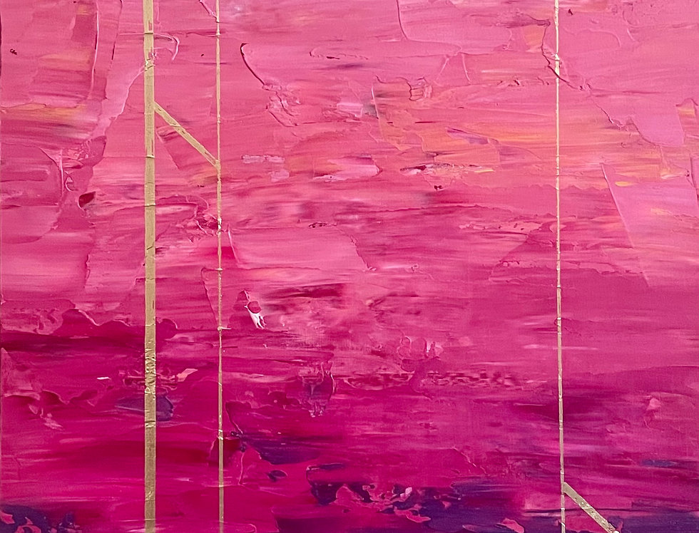 Pink Pillars | 24x12in | Framed Oil Painting