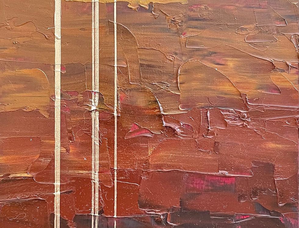 Sediment Horizons   12x6in   Framed Oil Painting