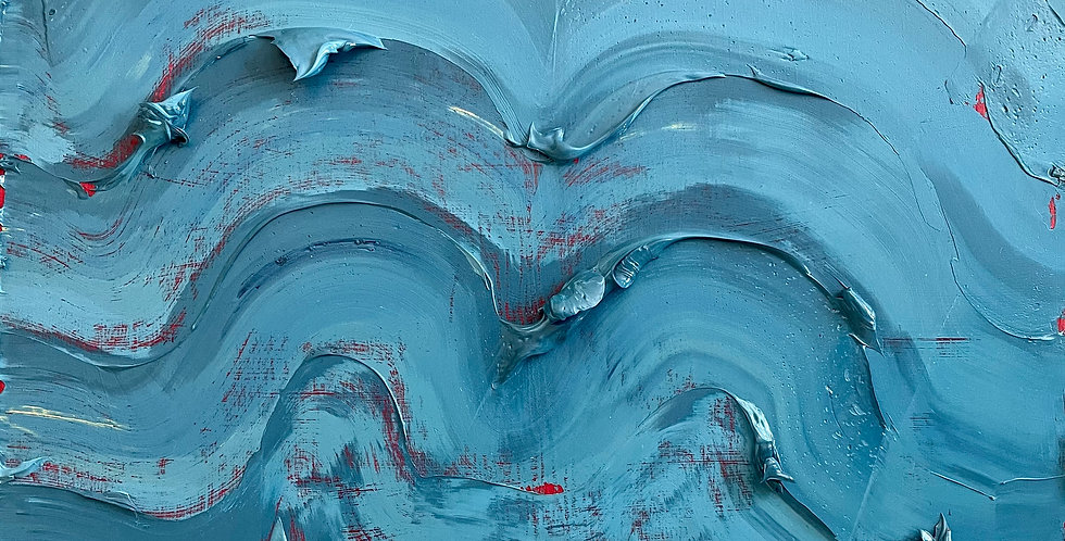 Blue Scrapes | 12x12in | Unframed Oil Painting