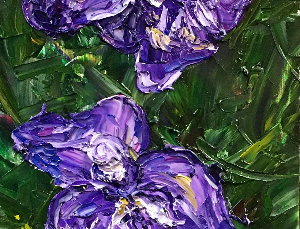 Dutch Iris Twins | 6x12in | Framed Oil Painting